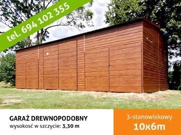 Garaż blaszany drewnopodobny z profila zamkniętego wysokość wjazdu 290cm