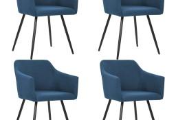 vidaXL Krzesła stołowe, 4 szt., niebieskie, tkanina276073