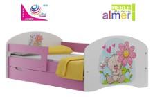 bajkowe łóżko dla dziecka z kolorową grafiką (nie naklejka) 140x70