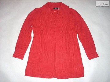 MODNY Długi Sweter Narzutka Elegancki 40 42 44 XL