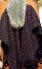Firmowe, ekskluzywne, ciepłe i długie ponczo, peleryna, narzutka jesienna z Londynu/ ONE SIZE