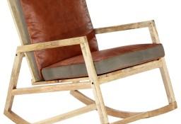 vidaXL Fotel bujany, brązowy, skóra naturalna i lite drewno mango282906