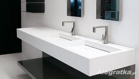 Umywalki z odpływem liniowym - Odpływy szczelinowe w umywalkach Luxum. Nowoczesne umywalki na wymiar z blatem.