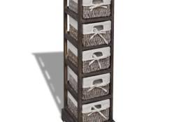 vidaXL Drewniana szafka z 5 koszykami, brązowa240801