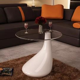vidaXL Biały stolik kawowy z okrągłym, szklanym blatem, wysoki połysk240320