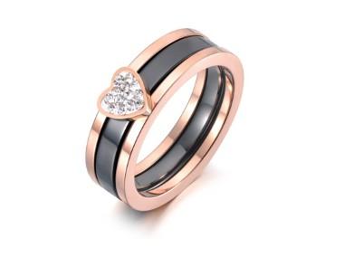 Nowy pierścionek komplet zestaw dwa pierścionki obrączka różowe złoto czarny-1