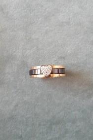Nowy pierścionek komplet zestaw dwa pierścionki obrączka różowe złoto czarny-2