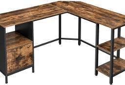 Biurko narożne w stylu industrialnym. Duże, z szufladą i 3 półkami.