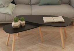 vidaXL Zestaw stolików kawowych, 2 szt., lite drewno sosnowe, czarny244732