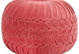 vidaXL Puf, aksamit bawełniany, marszczony, 40 x 30 cm, różowy 284036