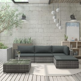 vidaXL 5-cz. zestaw wypoczynkowy do ogrodu, poduszki, rattan PE, szary 46783