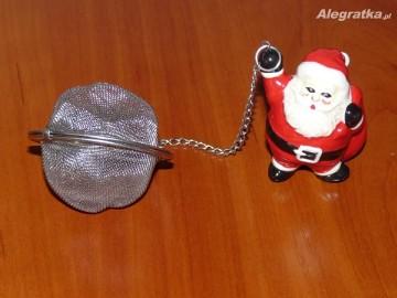 Ozdobna zaparzarka, sitko do parzenia herbaty z figurką Mikołaja