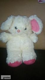 maskotka pluszak króliczek biały zabawka pluszowa