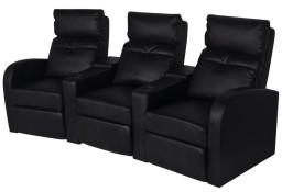 vidaXL Fotele kinowe dla 3 osób, sztuczna skóra, czarne242002