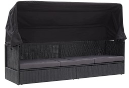 vidaXL Sofa ogrodowa z zadaszeniem, polirattan, czarna 46092