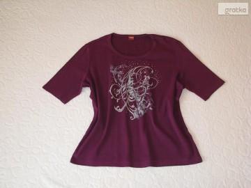 Koszulka OLSEN ze zdobieniami bluzka z krótkim rękawem T-shirt r. L/XL
