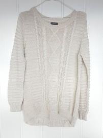 Sweter Yessica C&A beżowy złota nitka L 40 warkocz wzór
