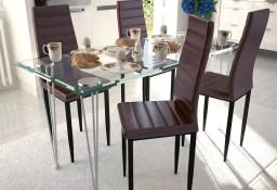 4 wysokie brązowe krzesła do jadalni + stół ze szklanym blatem271693