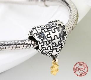 Pandora Charm zawieszka serce puzzle miłość love