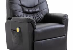 vidaXL Rozkładany fotel masujący, brązowy, sztuczna skóra60045
