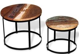 vidaXL Dwa stoliki do kawy z odzyskanego drewna, okrągłe, 40 i 50 cm244007