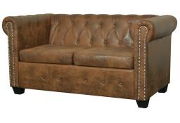 vidaXL Dwuosobowa sofa Chesterfield ze sztucznej skóry, brązowa243619