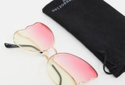 Ekskluzywne, duże okulary przeciwsłoneczne w etui/ muchy/ NOWE