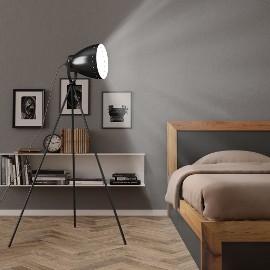 vidaXL Lampa podłogowa na trójnogu, metalowa, czarna, E27 51026