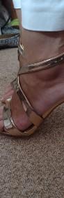 (40) Wytworne sandałki wieczorowe/ szpilki z Londynu/ różowe złoto/ NOWE-3