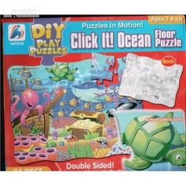 Wodny świat. Puzzle dwustronne do malowania 24 elementy 3+