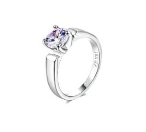Nowy prosty pierścionek jedna cyrkonia srebrny kolor