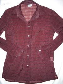 Burgundowa Koszula Zwiewna Szyfon 38 40