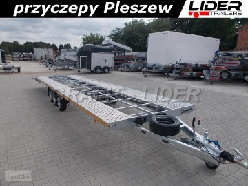 LT-068 przyczepa 850x210cm ALU - STAL, do 2 pojazdów, ciężarowa, laweta prosta, 3 osiowa, wzmacniana, DMC 3500kg