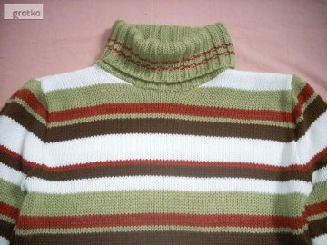 Milutki Sweter z Golfem Khaki Pasy 36 38