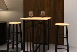 Zestaw jadalniany, piękny, czarny metal i drewniane blaty.240095