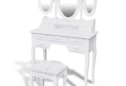 vidaXL Toaletka z taboretem i 3 lustrami, biała241483