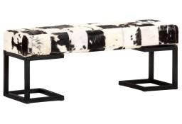 vidaXL Ławka 110 cm, czarna, patchworkowa, prawdziwa kozia skóra283750