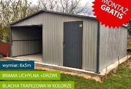 Garaż blaszany 6x5m dwuspadowy z bramą uchylną i dodatkowymi drzwiami
