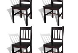 vidaXL Krzesła stołowe, 4 szt., ciemnobrązowe, drewno sosnowe241517