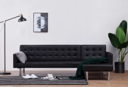 vidaXL Sofa w kształcie litery L, czarna, sztuczna skóra282229