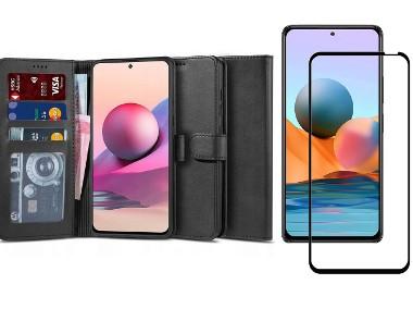 Etui Wallet 2 + Szkło Pełne Full Glue do Xiaomi Redmi Note 10 / 10S-1