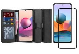 Etui Wallet 2 + Szkło Pełne Full Glue do Xiaomi Redmi Note 10 / 10S