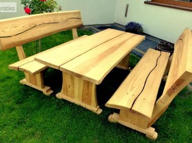 Meble ogrodowe drewniane dębowe ławy i stoły do baru lokalu restauracj-1