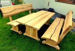 Meble ogrodowe drewniane dębowe ławy i stoły do baru lokalu restauracj