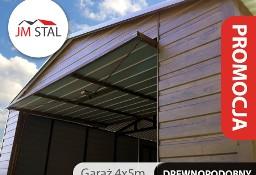 Garaż blaszany dwuspadowy 4x5 blacha orzech poziomy panel drewnopodobny