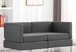 vidaXL Moduły sofy narożnej z poduszkami, 2 szt., tkanina, ciemnoszare287041