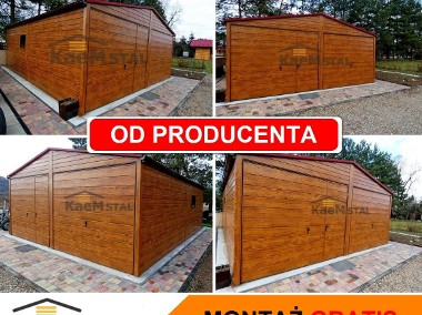 Nowoczesne garaże blaszane Drewnopodobne Producent garaży blaszanych blaszak 3x5-1