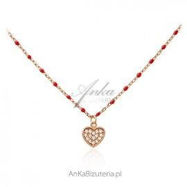 Srebrny naszyjnik pozłacany różowym złotem z czerwoną emalią i SERCEM z cyrkoniami