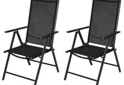 vidaXL Składane krzesła ogrodowe, 2 szt., aluminium/textilene, czarne 41730