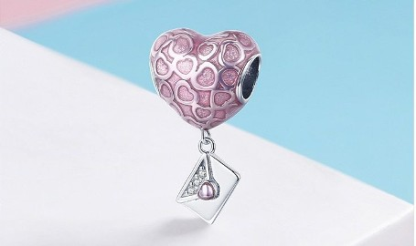 Pandora Charm zawieszka serce list miłosny miłość love